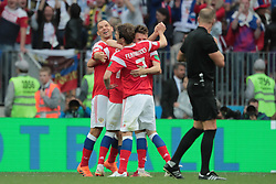 June 14, 2018 - Moscow, Russia - Russian National team celebrate during the group A match between Russia and Saudi Arabia at the 2018 soccer World Cup at Luzhniki stadium in Moscow, Russia, Tuesday, June 14, 2018. (Credit Image: © Anatolij Medved/NurPhoto via ZUMA Press)
