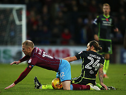 Stuart Sinclair of Bristol Rovers tackles Neal Bishop of Scunthorpe United - Mandatory by-line: Matt McNulty/JMP - 11/11/2017 - FOOTBALL - Glanford Park - Scunthorpe, England - Scunthorpe United v Bristol Rovers - Sky Bet League One