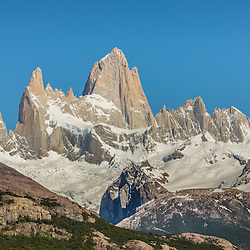 Mount Fitzroy in full glory against a rarely seen blue sky, Parque Nacional los Glaciers, Argentina.