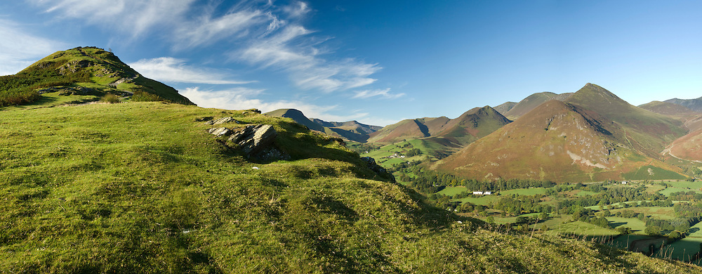 Panoramic view from the path to Cat Bells looking west towards Causey Pike and Knott Rigg, Lake District, UK