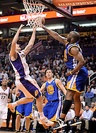 Apr 5, 2013; Phoenix, AZ, USA; Golden State Warriors XXX the ball during the game against the Phoenix Suns in the first half at US Airways Center. The Warriors defeated the Suns 111-107. Mandatory Credit: Jennifer Stewart-USA TODAY Sports<br /> <br /> Apr 5, 2013; Phoenix, AZ, USA; Phoenix Suns XXX the ball during the game against the Golden State Warriors in the first half at US Airways Center. The Warriors defeated the Suns 111-107. Mandatory Credit: Jennifer Stewart-USA TODAY Sports
