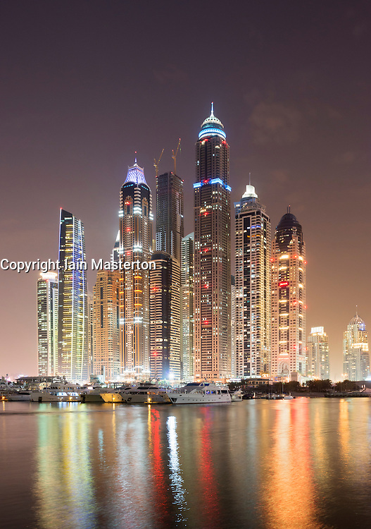 Evening view of skyline with apartment building skyscrapers at Marina district in New Dubai in  United Arab Emirates