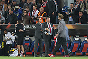 Sevilla Manager Unai Emery and Liverpool Manager Jurgen Klopp at the end of the match during the Europa League Final match between Liverpool and Sevilla at St Jakob-Park, Basel, Switzerland on 18 May 2016. Photo by Phil Duncan.