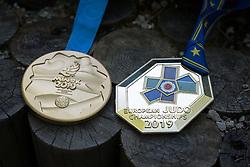 Klara Apotekar, Slovenian judoka, showing her two gold medals won at European Champinship and European games from Minsk on June 29th, 2019 in Smartno v Rozni dolini, Slovenia. Photo by Milos Vujinovic / Sportida