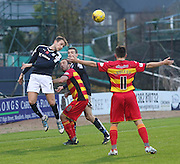 Dundee&rsquo;s Greg Stewart outjumps Partick Thistle&rsquo;s Stuart Bannigan - Dundee v Partick Thistle, Ladbrokes Premiership at Dens Park<br /> <br />  - &copy; David Young - www.davidyoungphoto.co.uk - email: davidyoungphoto@gmail.com