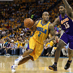 April 22, 2011; New Orleans, LA, USA; New Orleans Hornets point guard Jarrett Jack (2) drives past Los Angeles Lakers small forward Ron Artest (15) during the second quarter in game three of the first round of the 2011 NBA playoffs at the New Orleans Arena.    Mandatory Credit: Derick E. Hingle