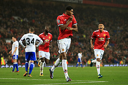 12th September 2017 - UEFA Champions League - Group A - Manchester United v FC Basel - Marcus Rashford of Man Utd celebrates after scoring their 3rd goal - Photo: Simon Stacpoole / Offside.