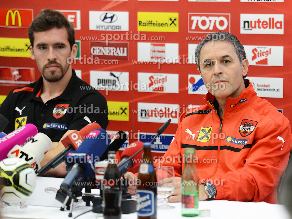 13.11.2012, Raiffeisenbank, Linz, AUT, Testspiel, Oesterreich vs Elfenbeinkueste, Pressekonfernez OeFB Team, im Bild Trainer Marcel Koller und Christian Fuchs // during mediatalk of OeFB team Austria before the international friendly match between Austria and Ivory Coast at the Raiffeisenbank, Linz, Austria on 2012/11/13. EXPA Pictures © 2012, PhotoCredit: EXPA/ Reinhard Eisenbauer