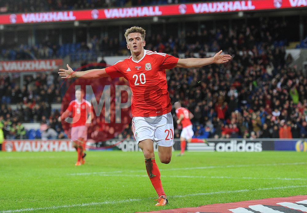 Emyr Huws of Wales celebrates scoring a goal to make it 2-2 - Mandatory byline: Dougie Allward/JMP - 07966 386802 - 13/11/2015 - FOOTBALL - Cardiff City Stadium - Cardiff, Wales - Wales v Netherlands - International Friendly