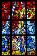 Stained glass image of the Nativity from Allouez Cemetery in Green Bay. (Photo by Sam Lucero)
