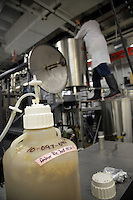 Amber Ale Yeast works its magic as PhD candidate Brandon Jones stirs malt nearby.