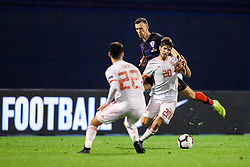 Ivan Perisic of Croatia and Sergi Roberto of Spain during the UEFA Nations League football match between Croatia and Spain, on November 15, 2018, at the Maksimir Stadium in Zagreb, Croatia. Photo by Morgan Kristan / Sportida