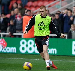 MIDDLESBROUGH, ENGLAND - Saturday, January 12, 2008: Liverpool's John Arne Riise warms-up before the Premiership match against Middlesbrough at the Riverside Stadium. (Photo by David Rawcliffe/Propaganda)