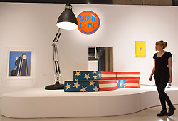 "© Licensed to London News Pictures. 21/10/2013. London, England. Studio 65, Leonardo, sofa, 1969. The Exhibition ""Pop Art Design"" opens at the Barbican Art Gallery/Barbican Centre running from 22 October 2013 to 9 February 2014. The exhibition brings together 200 works by 70 artists and designers including Peter Blake, Andy Warhol and Roy Lichtenstein. Photo credit: Bettina Strenske/LNP"