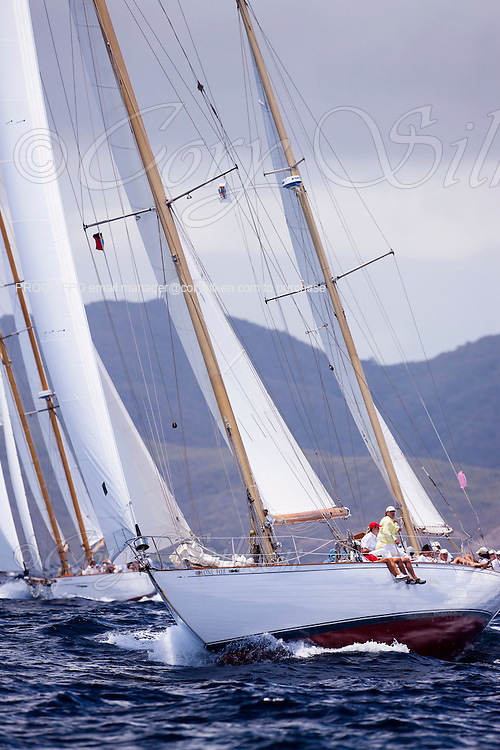 Lone Fox sailing in the Cannon Race at the Antigua Classic Yacht Regatta.