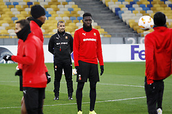 November 7, 2018 - Kiev, Ukraine - Rennes' French coach Sabri Lamouchi (3-L) attends a training session of his team at the Olympiyskiy Stadium in Kiev, Ukraine, 08 November 2018. Rennes will play against Dynamo Kyiv at the UEFA Europa League Group K second-leg football match at the Olympiyskiy Stadium in Kiev, on November 08. (Credit Image: © Str/NurPhoto via ZUMA Press)