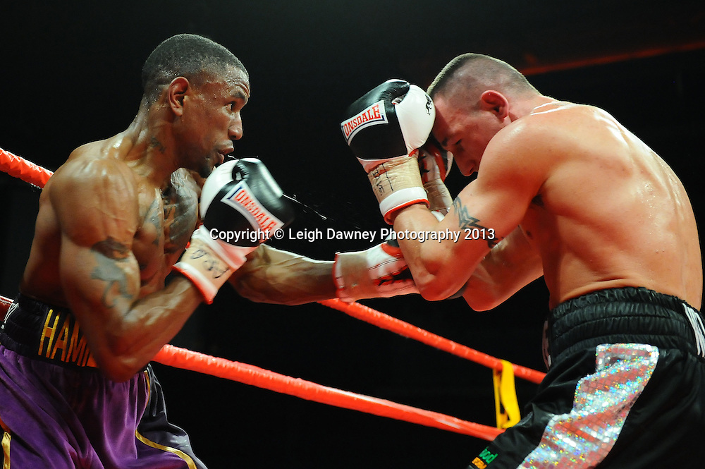 Darren Hamilton defeats Steve Williams in a 12x3 round bout for the British Light Welterweight Title at the Echo Arena, Liverpool, United Kingdom on the 23rd February 2013. Frank Maloney Promotions. © Leigh Dawney Photography 2013
