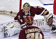 (012607 Boston, MA)  From left, Boston College's goalie Cory Schneider, #1, watches as the puck goes into the net during their game against Boston University at Agganis Arena.