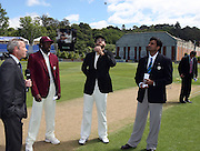 Black Caps capatin Daniel Vettori tosses the coin on day 1 as Chris Gayle and match referee  Javagal Srinath. <br />New Zealand v West Indies, First Test Match, National Bank Test Series, University Oval, Dunedin, Thursday 11 December 2008. Photo: Andrew Cornaga/PHOTOSPORT