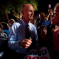 TAMPA, FL -- October 25, 2010 -- Republican candidate for governor Rick Scott greets supporters at a post-debate rally in Tampa, Fla., on Monday, September 25, 2010.  Scott was kicking off his final week of campaigning in the heated race for Florida Governor against Democrat Alex Sink.