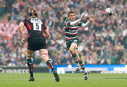 Leicester Tigers Fly Half Toby Flood recieves the ball. The Guinness Premiership final 2010 between Leicester Tigers and Saracens at Twickenham Stadium, London, England. May 29th, 2010. .