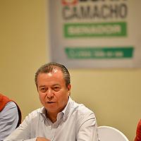 """Toluca, México (Abril 24, 2018).- César Camacho Quiroz, candidato al Senado de la República por el PRI, pidió """"no sobrevalorar las encuestas"""" y esperar la decisión ciudadana en las urnas del próximo 1 de julio.  Agencia MVT / Crisanta Espinosa."""