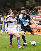 Joe Jacobson crosses during the Sky Bet League 2 match between Wycombe Wanderers and Oxford United at Adams Park, High Wycombe, England on 3 April 2015. Photo by David Charbit.