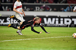 30.12.2015, Mercedes Benz Arena, Stuttgart, GER, 1. FBL, VfB Stuttgart vs Hamburger SV, 19. Runde, im Bild TOR zum 1:1 durch Artjoms Rudnevs HSV Hamburg Hamburger SV per Flugkopfball Kopfball vor Georg Niedermeier VfB Stuttgart Aktion // during the German Bundesliga 19th round match between VfB Stuttgart and Hamburger SV at the Mercedes Benz Arena in Stuttgart, Germany on 2015/12/30. EXPA Pictures © 2016, PhotoCredit: EXPA/ Eibner-Pressefoto/ Weber<br /> <br /> *****ATTENTION - OUT of GER*****