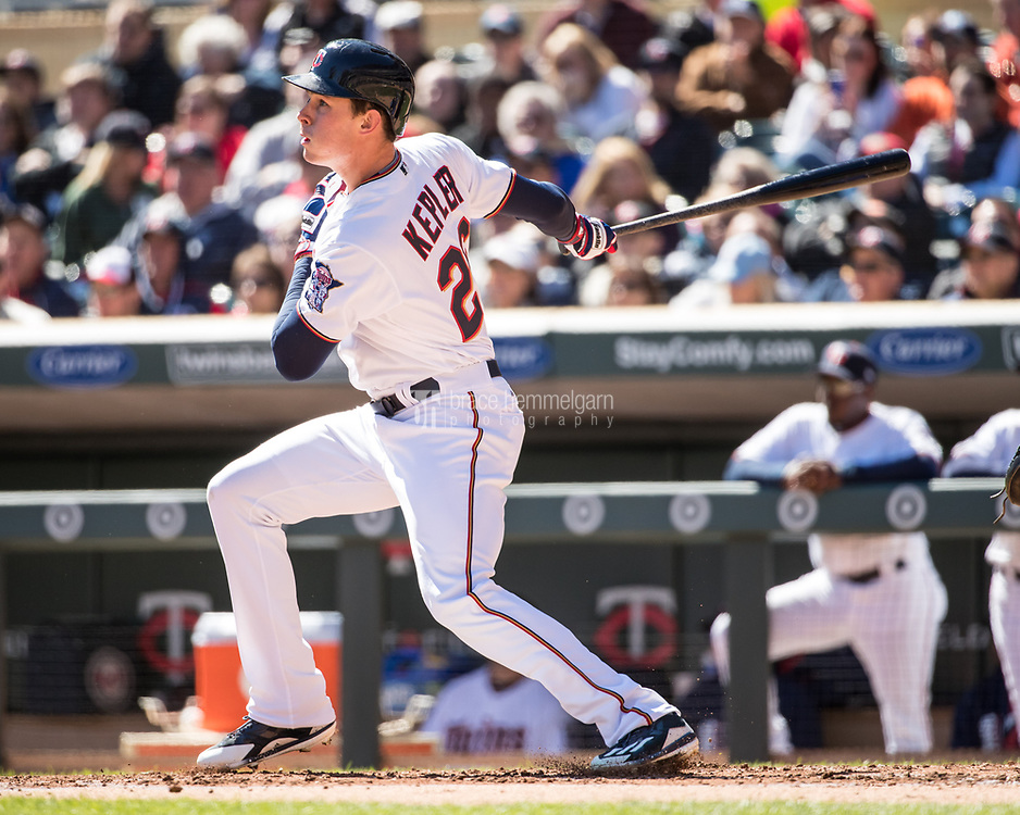 MINNEAPOLIS, MN- APRIL 6: Max Kepler #26 of the Minnesota Twins bats against the Kansas City Royals on April 6, 2017 at Target Field in Minneapolis, Minnesota. The Twins defeated the Royals 5-3. (Photo by Brace Hemmelgarn) *** Local Caption *** Max Kepler