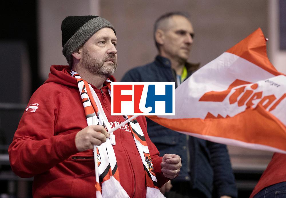 BERLIN - Indoor Hockey World Cup<br /> Men: Austria - South Africa<br /> foto: Austrian fan.<br /> WORLDSPORTPICS COPYRIGHT FRANK UIJLENBROEK