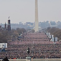 Crowds fill the mall for the Inauguration of President Barack Obama as 44th President of the United States of America. US Capitol, Washington, DC. 1/20/09. Photo by Lisa Quinones/Black Star.