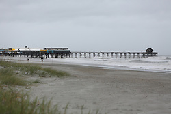 October 8, 2016 - Cocoa Beach, Florida, U.S. - DOUGLAS R. CLIFFORD       Times.The Cocoa Beach Pier and surrounding beaches and sea oats remain enact on Friday (10/7/16) morning after hurricane Matthew passed to the east on Florida's east coast. (Credit Image: © Douglas R. Clifford/Tampa Bay Times via ZUMA Wire)