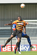 John Akinde of Barnet and Ayo Obileye of Dagenham and Redbridge   during the Sky Bet League 2 match between Barnet and Dagenham and Redbridge at Hive Stadium, London, England on 26 September 2015. Photo by Ian Lyall.