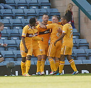 Michael Higdon is congratulated after scoring the equaliser - Dundee v Motherwell, Clydesdale Bank Scottish Premier League at Dens Park.. - © David Young - 5 Foundry Place - Monifieth - DD5 4BB - Telephone 07765 252616 - email: davidyoungphoto@gmail.com - web: www.davidyoungphoto.co.uk