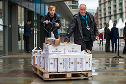 © Licensed to London News Pictures. 01/10/2019. Manchester, UK. Champagne is delivered to the Conservative Conference this morning on the third day of the Conservative Party Conference at Manchester Central in Manchester. Photo credit: Andrew McCaren/LNP
