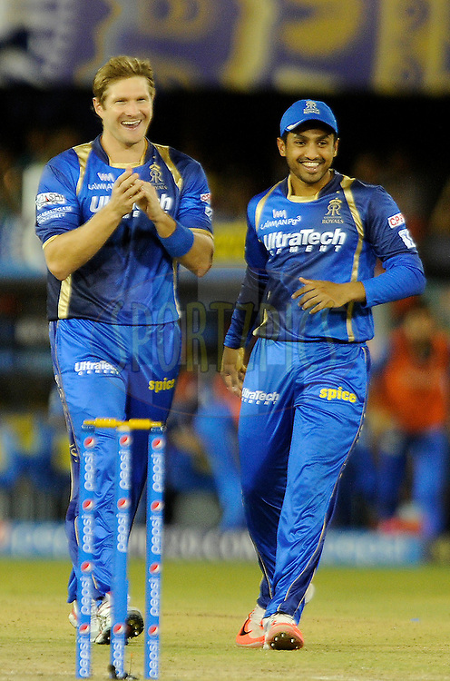 Shane Watson captain of Rajasthan Royals celebrates the wicket of Chris Gayle of Royal Challengers Bangalore during match 22 of the Pepsi IPL 2015 (Indian Premier League) between The Rajasthan Royals and The Royal Challengers Bangalore held at the Sardar Patel Stadium in Ahmedabad , India on the 24th April 2015.<br /> <br /> Photo by:  Pal Pillai / SPORTZPICS / IPL