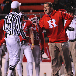 Oct 16, 2009; Piscataway, NJ, USA; Rutgers head coach Greg Schiano explains his frustration to referee Pat Garvey during first half NCAA football action in Pittsburgh's 24-17 victory over Rutgers at Rutgers Stadium.