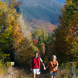 Walking a rail trail in Jefferson, NH.  Mount Madison is in the distance.  White Mountains.