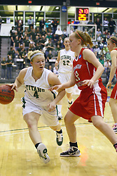 18 March 2011: Brittany Hasselbring works the perimeter during an NCAA Womens basketball game between the Washington University Bears and the Illinois Wesleyan Titans at Shirk Center in Bloomington Illinois.