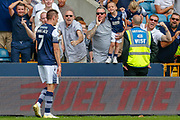 GOAL 1-0, Millwall midfielder Jed Wallace (7) scores, the Millwall football fans, football supporters celebrate, during the EFL Sky Bet Championship match between Millwall and Preston North End at The Den, London, England on 3 August 2019.