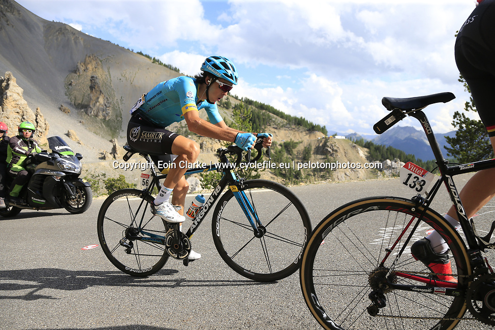 Bakhtiyar Kozhatayev (KAZ) Astana climbs through the Caisse Deserte on Col d'Izoard during Stage 18 of the 104th edition of the Tour de France 2017, running 179.5km from Briancon to the summit of Col d'Izoard, France. 20th July 2017.<br /> Picture: Eoin Clarke | Cyclefile<br /> <br /> All photos usage must carry mandatory copyright credit (&copy; Cyclefile | Eoin Clarke)