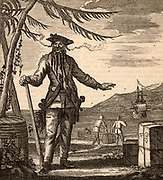 Blackbeard, the popular name of Edward Teach (or Thatch or Drummond - 1680-1718) notorious English pirate who subjected the Carribean Sea to a reign of terror from 1716 to 1718. Engraving.