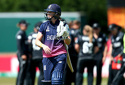Heather Knight of England Women cuts a dejected figure after being dismissed LBW by Suzie Bates of New Zealand Women - Mandatory by-line: Robbie Stephenson/JMP - 12/07/2017 - CRICKET - The County Ground Derby - Derby, United Kingdom - England v New Zealand - ICC Women's World Cup match 21