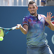 2017 U.S. Open Tennis Tournament - DAY THREE.  Nick Kyrgios of Australia in action against John Millman of Australia during the Men's Singles round one match at the US Open Tennis Tournament at the USTA Billie Jean King National Tennis Center on August 30, 2017 in Flushing, Queens, New York City.  (Photo by Tim Clayton/Corbis via Getty Images)