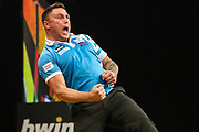 Gerwyn Price celebrates during the BWIN Grand Slam of Darts at Aldersley Leisure Village, Wolverhampton, United Kingdom on 18 November 2018.
