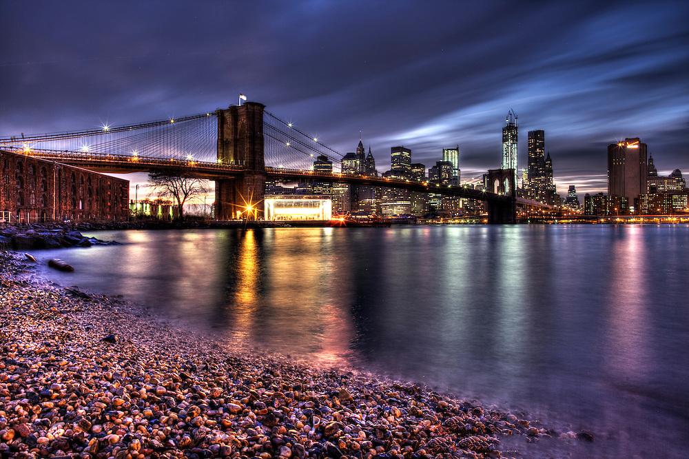 Brooklyn Bridge New York City HDR Photography as seen from Brooklyn Bridge Park