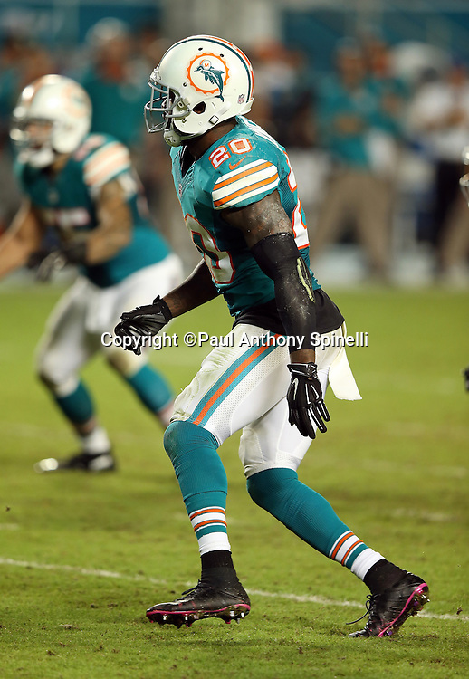 Miami Dolphins strong safety Reshad Jones (20) chases the action during the NFL week 14 regular season football game against the New York Giants on Monday, Dec. 14, 2015 in Miami Gardens, Fla. The Giants won the game 31-24. (©Paul Anthony Spinelli)