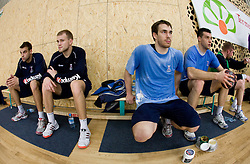 Matjaz Brumen, Nejc Poklar, Jure Natek and Nenad Bilbija  at Open training session for the public of Slovenian handball National Men team before European Championships Austria 2010, on December 27, 2009, in Terme Olimia, Podcetrtek, Slovenia.  (Photo by Vid Ponikvar / Sportida)