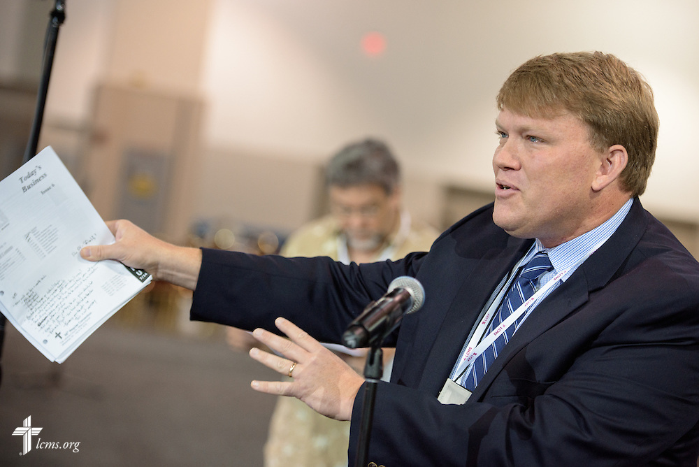 The Rev. Scott Christenson, voting delegate and pastor of Saint Pauls Lutheran Church in Orange, Calif., speaks Thursday, July 14, 2016, at the 66th Regular Convention of The Lutheran Church–Missouri Synod, in Milwaukee. LCMS/Michael Schuermann