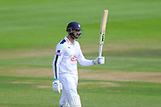 50 for James Vince - James Vince of Hampshire raises his bat to celebrate his half century during the Specsavers County Champ Div 1 match between Hampshire County Cricket Club and Yorkshire County Cricket Club at the Ageas Bowl, Southampton, United Kingdom on 1 September 2016. Photo by Graham Hunt.